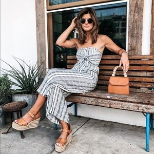 L*Space tie-front strapless stripe jumpsuit small